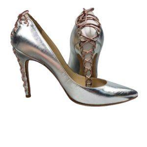 Alexandra Neel Corset Laced Heel Silver Pump 7.5